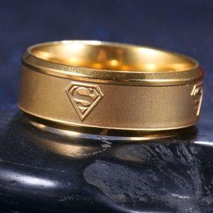 Gold Superman ring mens boys stainless steel